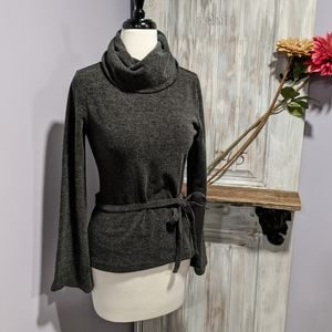 Express charcoal gray belted turtleneck